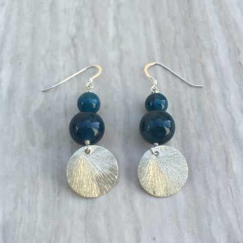 Apatite Earrings With Round Silver E-4
