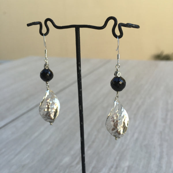 Black Spinel And Silver Leaf Earrings E-6