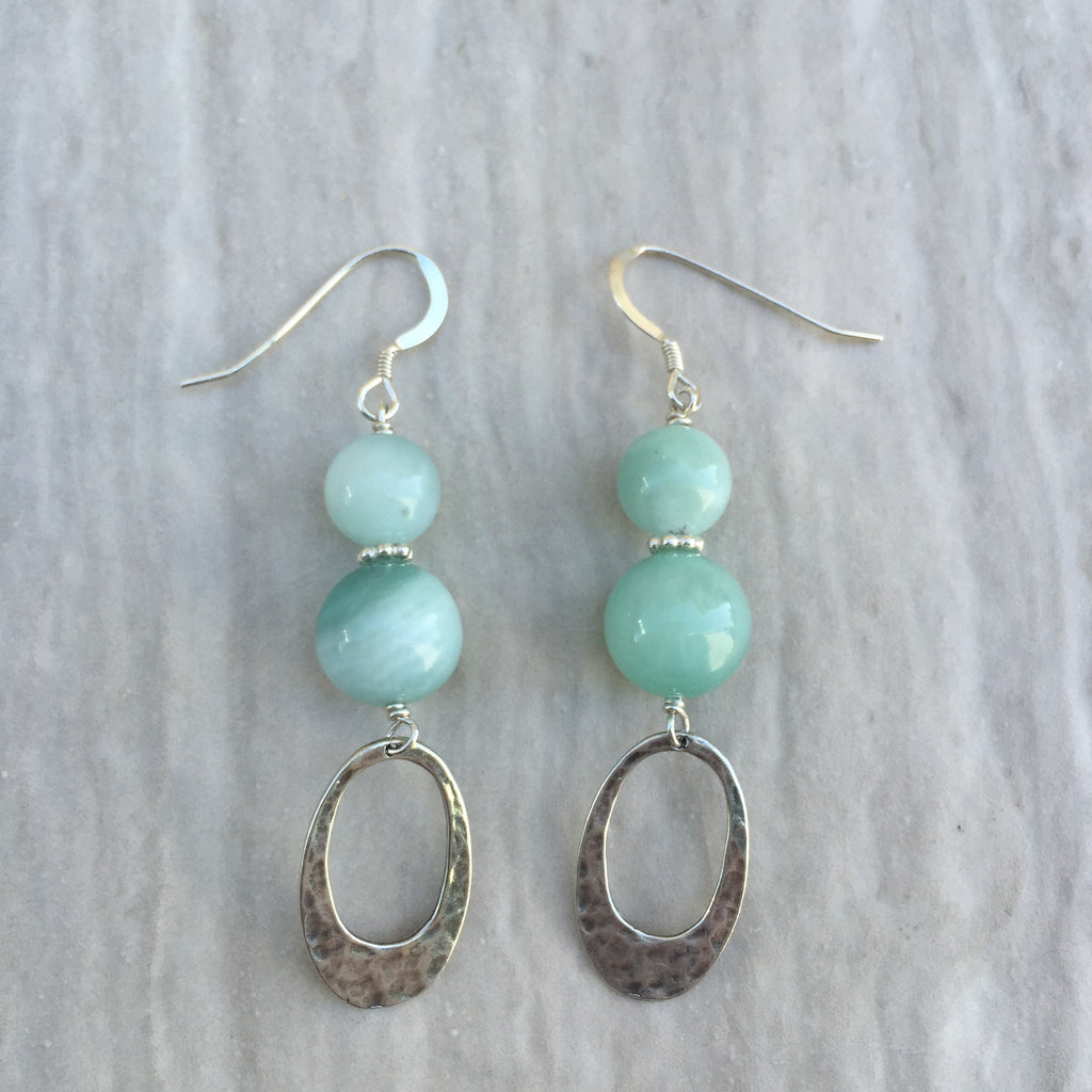 Blue Jade With Oval Silver Earrings E-8