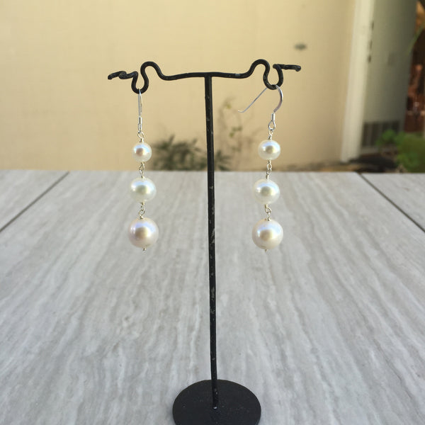 White Pearl Earrings E-9