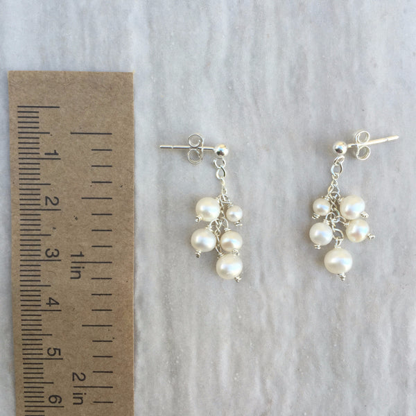 White Pearl Earrings E-10