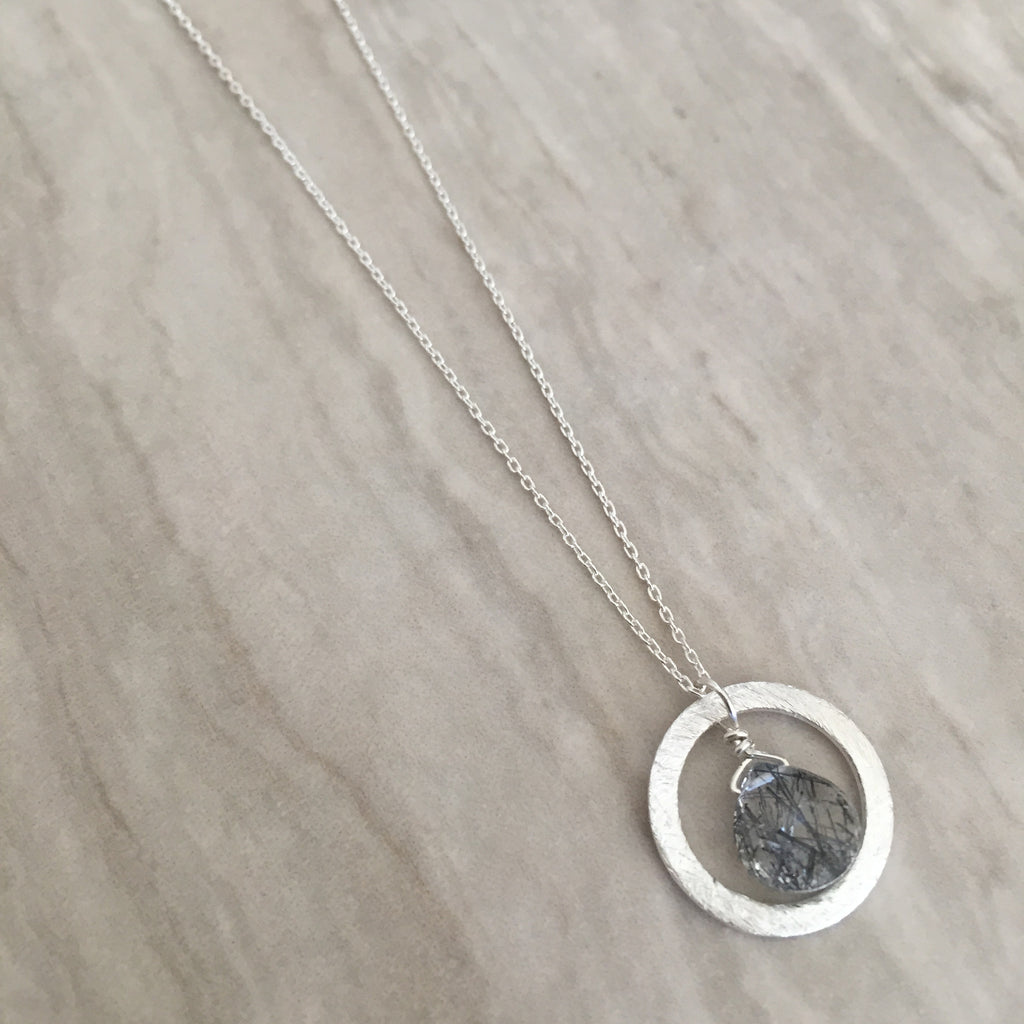 Black Rutilated Quartz in a brushed Silver Ring Necklace N-18