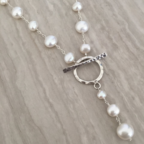White Pearl With Toggle Necklace N-20