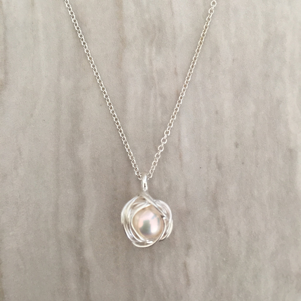 luxury pearl in choker necklaces item real handmade inlay pendant feige zirconia cubic women for jewelry silver from pink sterling