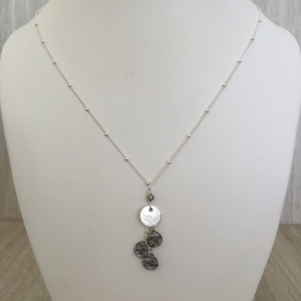 Black Rutilated Quartz With Round Silver Necklace N-22