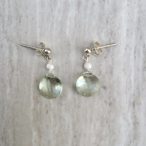 Puffed Round Ice Green Amethyst Dangles Earrings E-15
