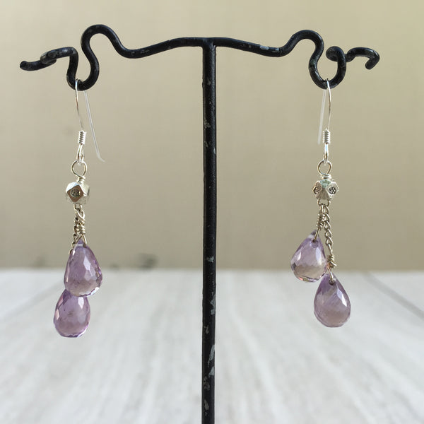 Dangling Amethyst Briolette Cut Earrings E-16