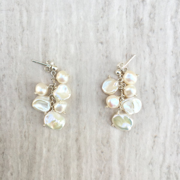 White Keshi Pearl Dangling Earrings E-18