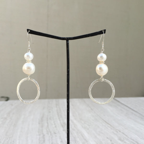 Potato-shaped White Pearls with Silver Ring Earrings E-19