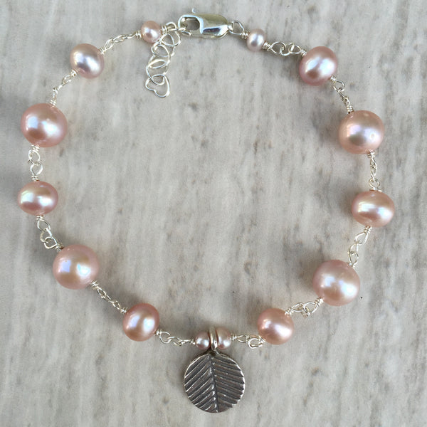 Pink Pearl With Silver Leaf Charm B-1