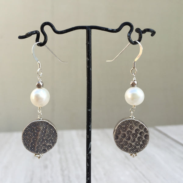 White Pearl With Puffed Silver Beads Earrings E-21
