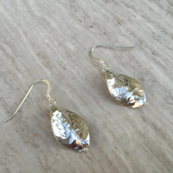 Silver Hammered Leaf Earrings E-22
