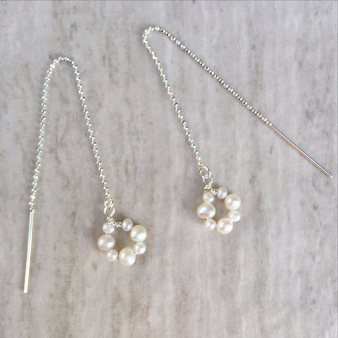 White Pearl Threader Earrings E-23