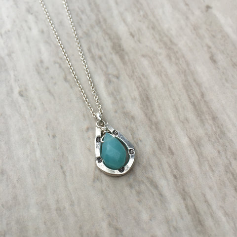 Amazonite with Horse Shoe  Silver Necklace N-3