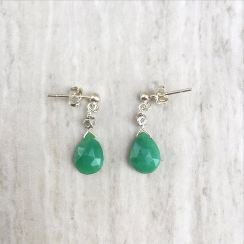 Chrysoprase Puffed Teardrop Shape Earrings E-14