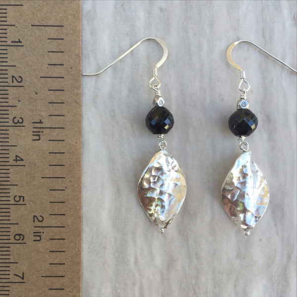 Black Spinel And Hammerd Silver Leaf Earrings E-6