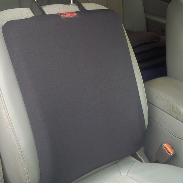 Gel cushion attached to the seat back of the passenger seat in a car