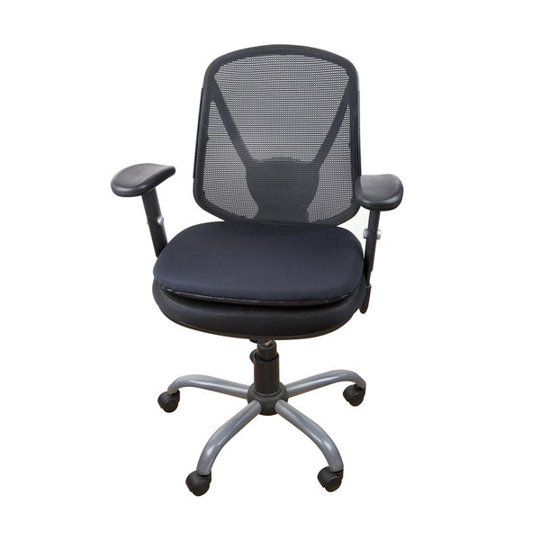 Gel seat cushion in a rolling office chair