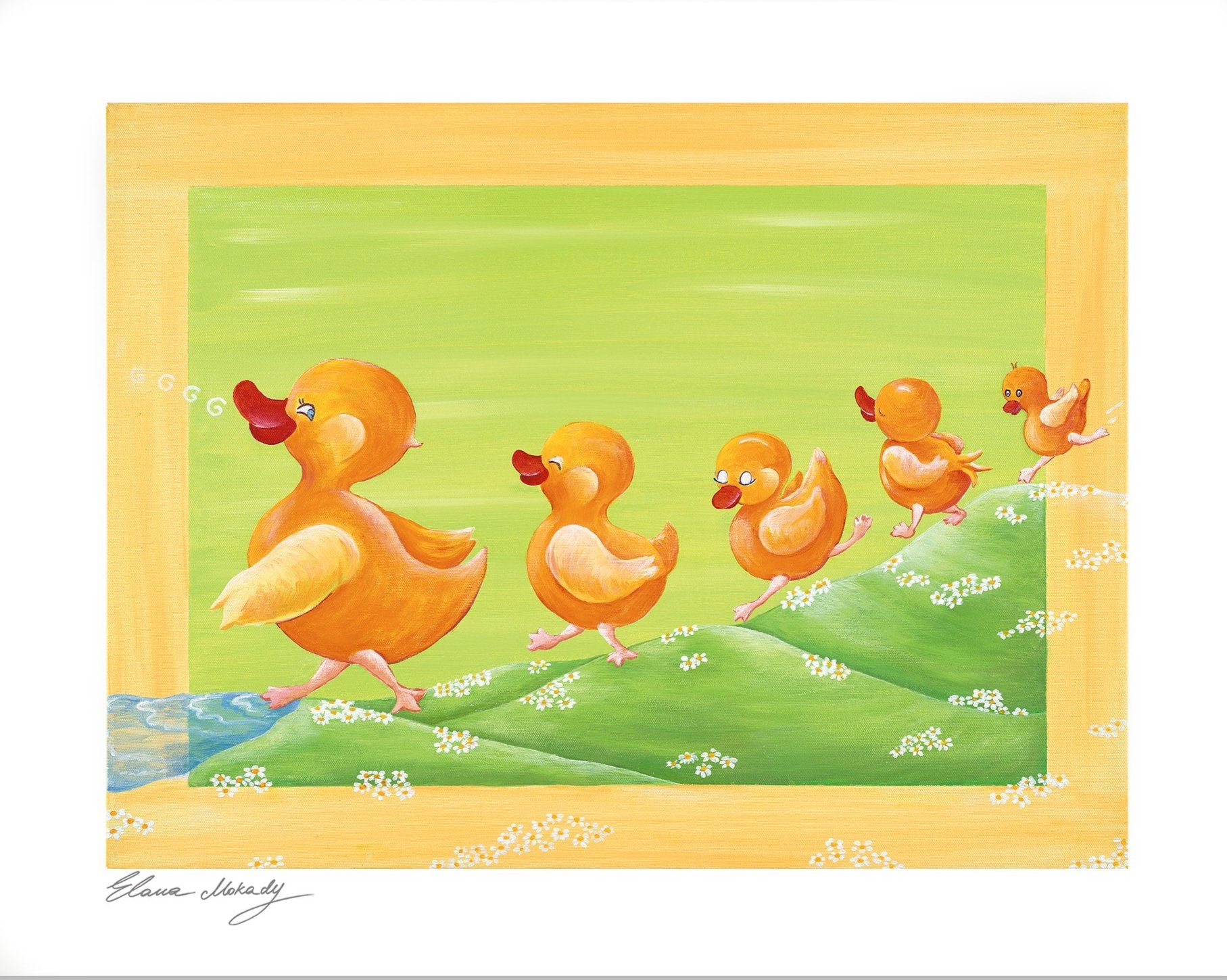 Duckling Family, Paper Wall Art