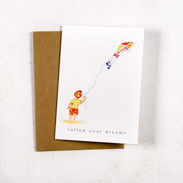 Follow your dreams Child on the Beach Greeting card