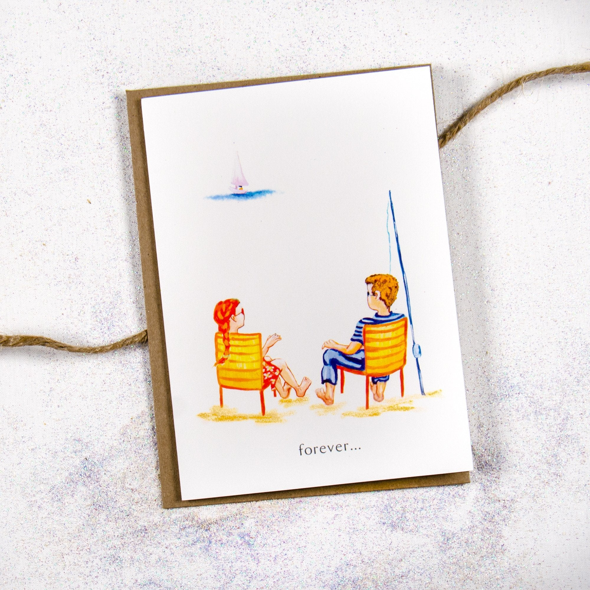 Forever Loved Couple on the Beach Greeting Card