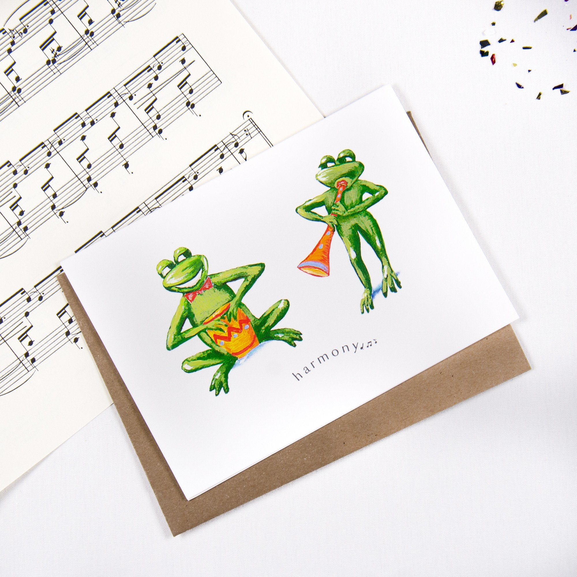 Harmony Frogs and Music - Greeting card