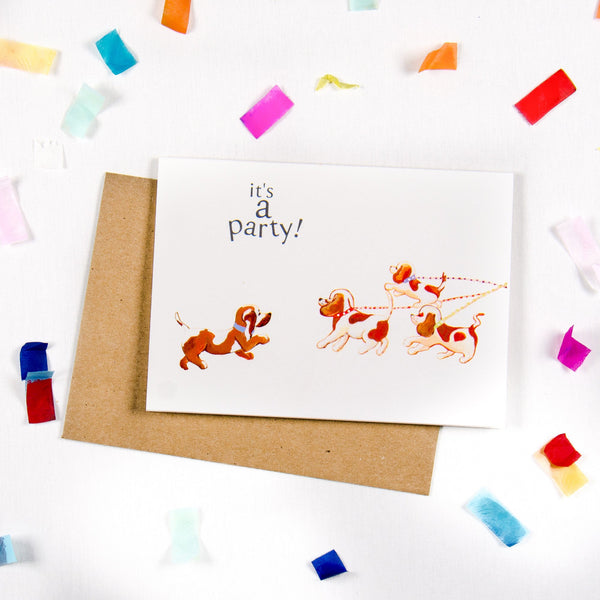 It's a party Dog lovers Greeting card