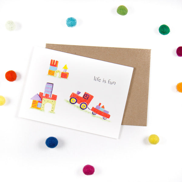 Life is fun - Wooden Building blocks Greeting Card