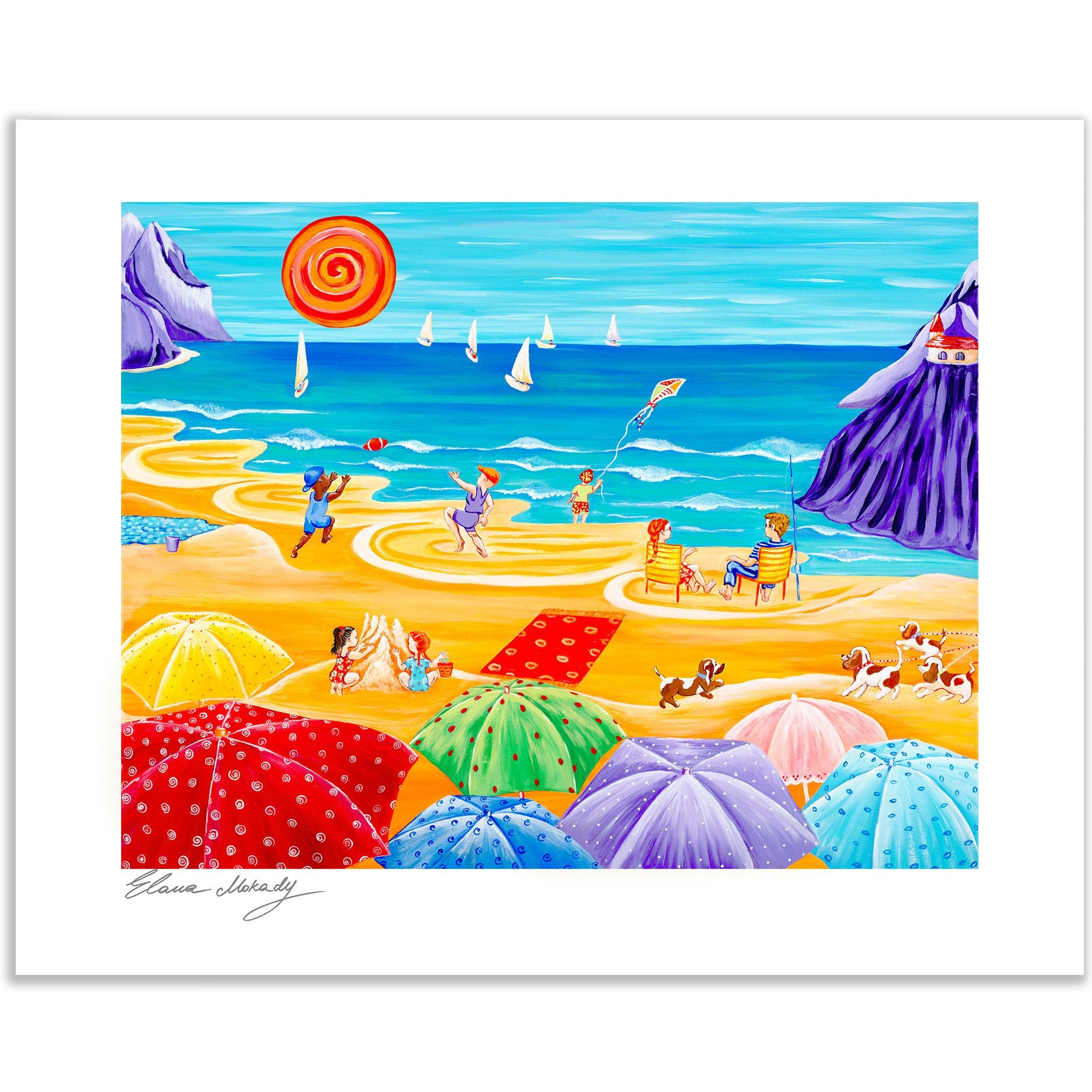 Parasol Parade Beach, Wall Art Paper Print