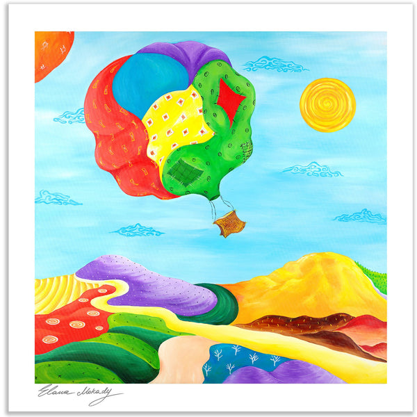 Patches Hot Air Balloon, Wall Art Paper Print