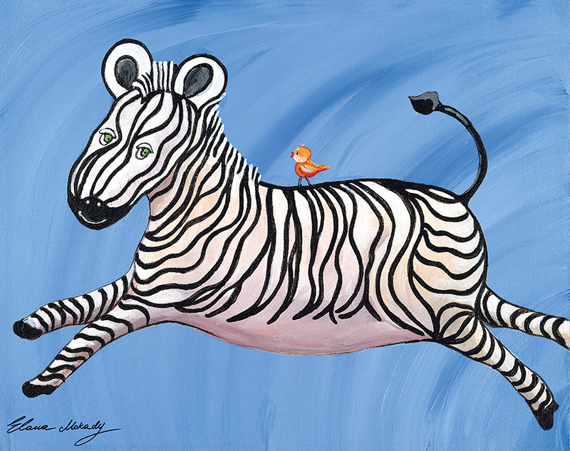 """Stripes"" the Happy Zebra, Original Wall Art"