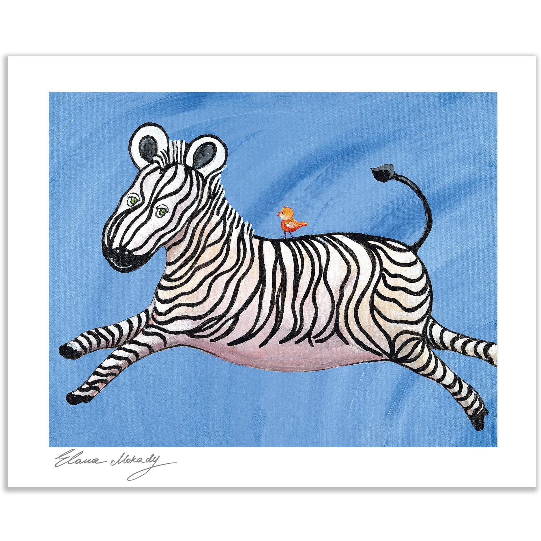 """Stripes"" the Happy Zebra Paper Print Wall Art"
