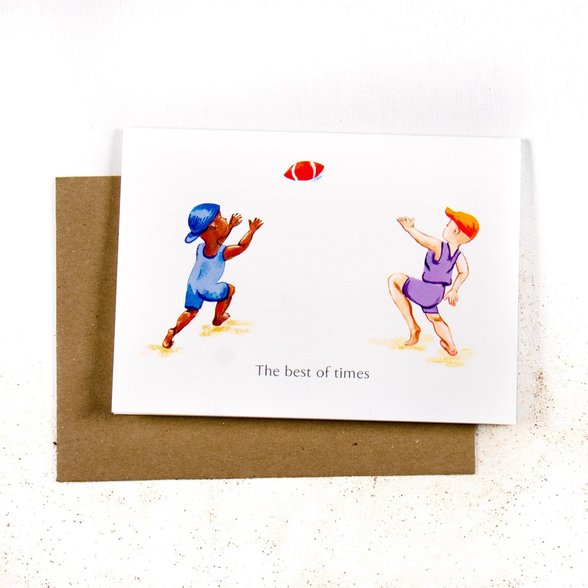 The best of times Boys play Football - Greeting card