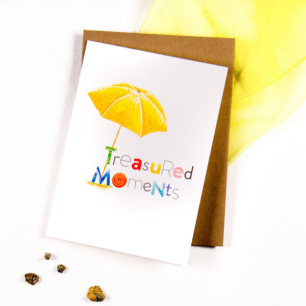 Treasured Moments Parasol on the Beach - Greeting card