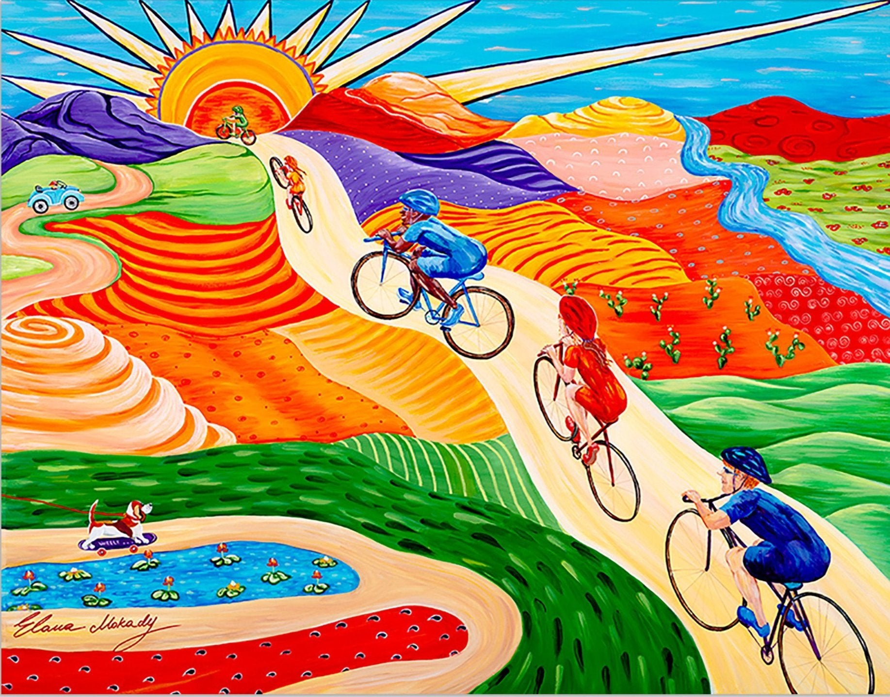 Wheels On Hills Bicycle Sports, Canvas Wall Art