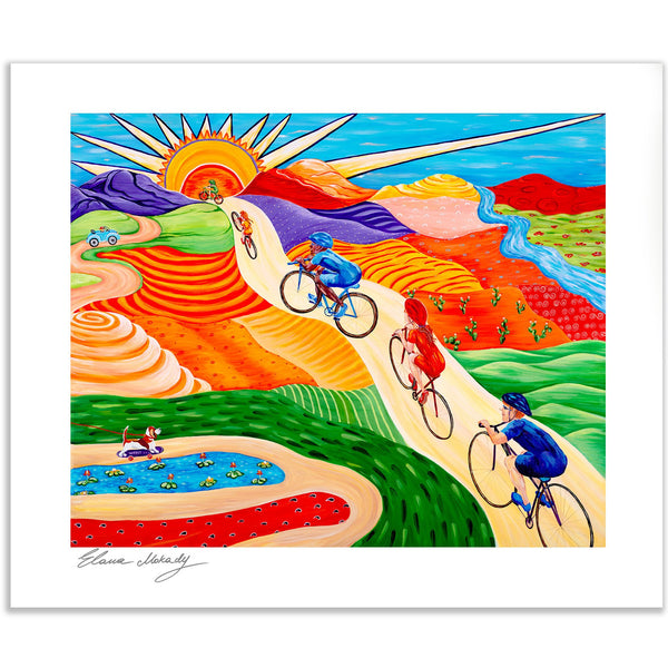 Wheels On Hills Bicycle Sports, Wall Art Paper Print