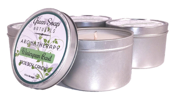Wintergreen & Sweet Basil Aromatherapy Soy Candle