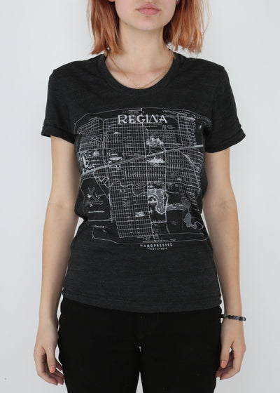Regina Map Tee | Tri-Black | Unisex and Ladies, Shirts, Hardpressed Print Studio, Hardpressed Print Studio
