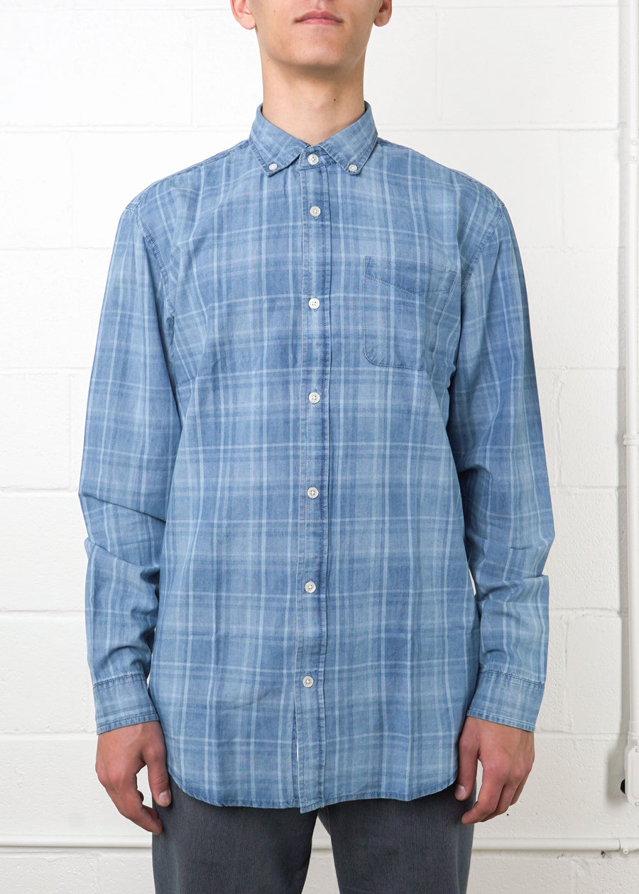 Frank And Oak - Classic Soft-Checked Denim Shirt, Button Up Shirt, Frank And Oak, Hardpressed Print Studio