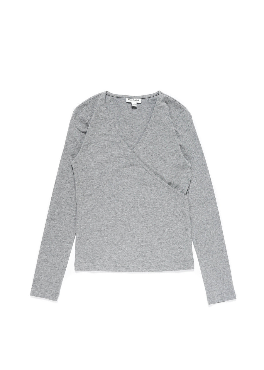 Frank And Oak - Cotton Wrap Top - Grey
