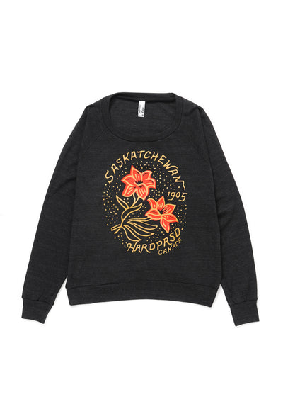 Gold Lily Raglan | Charcoal | Ladies - Hardpressed Print Studio
