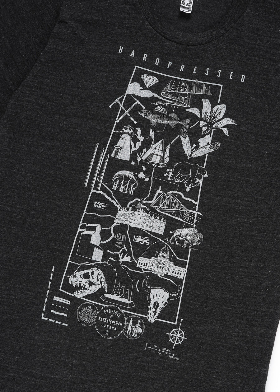 Souvenir Map Tee | Tri-Black | Unisex and Ladies