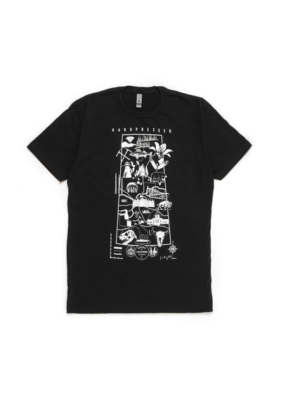 Souvenir Map Tee | Black | Unisex and Ladies - Hardpressed Print Studio