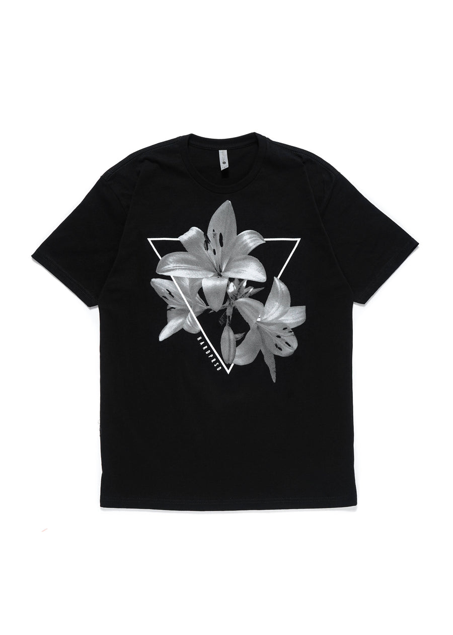 Tri-lily Tee | Black | Unisex and Ladies