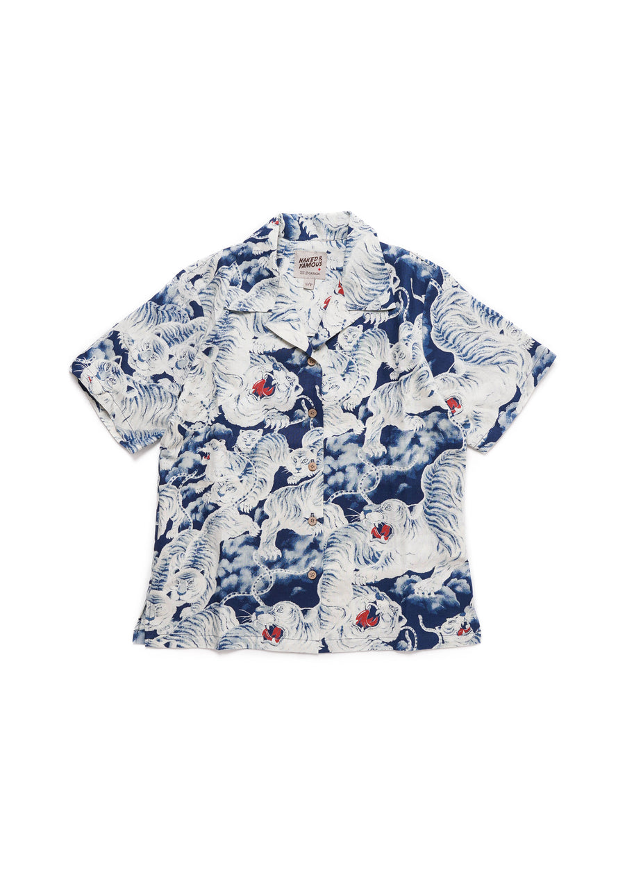 Naked & Famous Denim - Camp Collar Shirt - Indigo Tigers - Hardpressed Print Studio