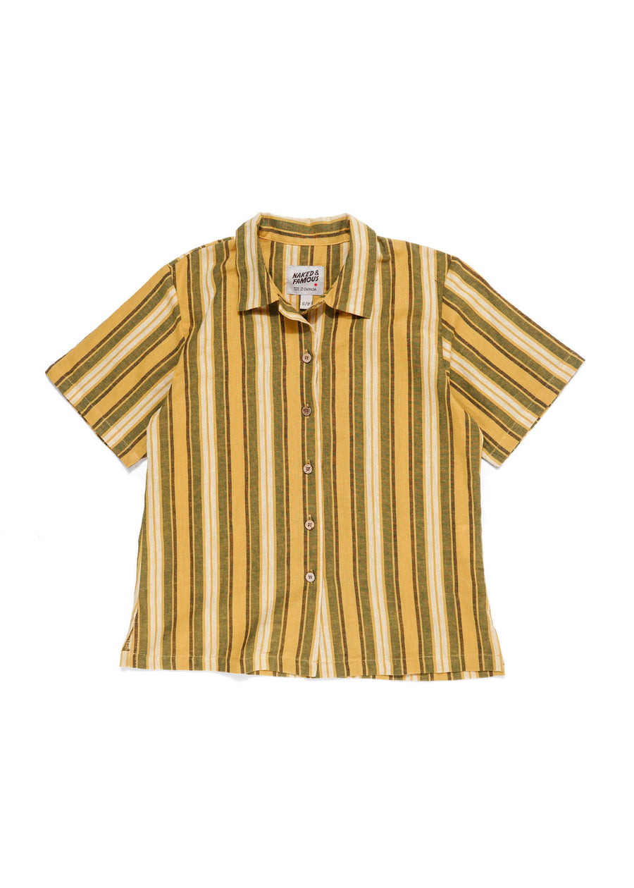 Naked & Famous Denim - W' Camp Collar Shirt - Sahara Stripe - Yellow