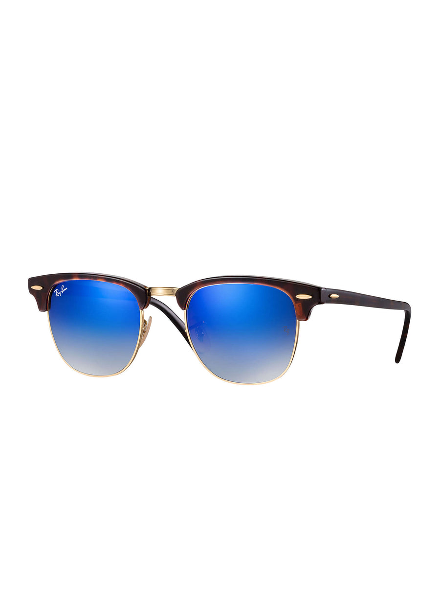 Ray Ban - RB3016 990/7Q - Clubmaster Flash Lenses - Tortoise/Blue Flash Mirror, Sunglasses, Ray Ban, Hardpressed Print Studio