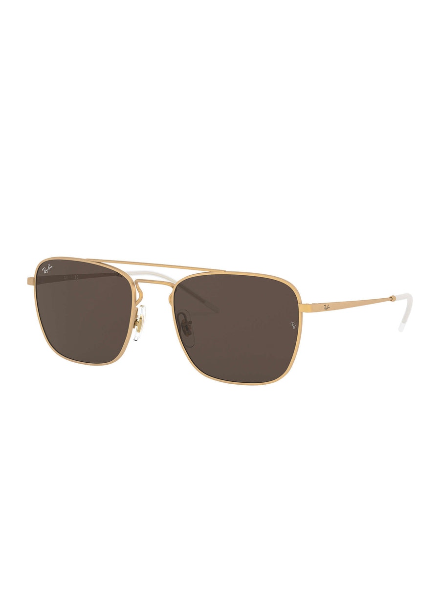 Ray Ban - RB3588 901373 - Metal Rubber Gold/Brown Classic B-15, Sunglasses, Ray Ban, Hardpressed Print Studio