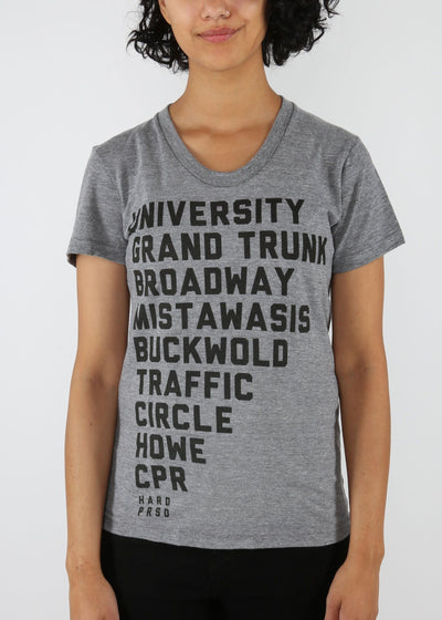 Saskatoon Bridge List Tee | Tri-Grey | Unisex and Ladies