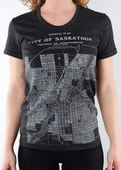 City of Saskatoon Map Tee v2 | Tri-Black | Unisex and Ladies, Shirts, Hardpressed Print Studio, Hardpressed Print Studio